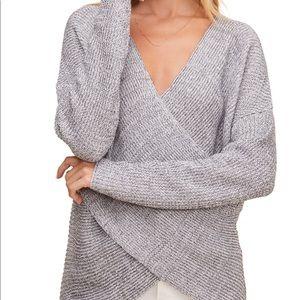 En Creme Cross Front Wrap Knit Sweater